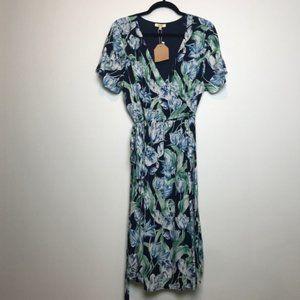 Kori America Blue Floral Tulip Faux Wrap Dress